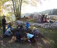 Begeisterte Kinder beim Graben