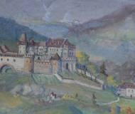 Bildausschnitt (Gemälde Franz X. Pernlochner): Zwischen der alten Mehringerkirche und der Vorburg stand einst das römische Gebäude.