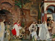 Der Einzug in Jerusalem. Detail aus der großen Fastenkrippe.
